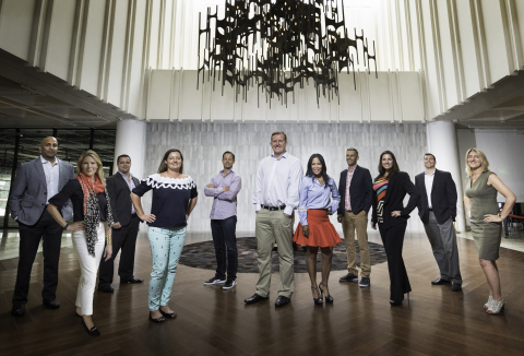 Fishawack leaders join Carling Group of Companies partners in San Diego office. Oliver Dennis, CEO, Fishawack, and Didi Discar, Principal, Carling, are pictured in the center. (Photo: Business Wire)