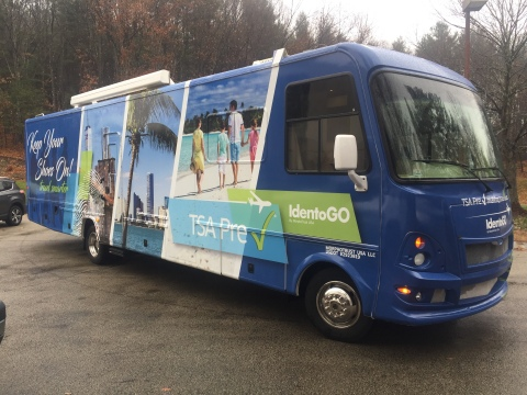 TSA PreCheck enrollment provider MorphoTrust launched the IdentoGO Mobile Enrollment RV Tour last year to enroll travelers at business parks, universities and concerts. (Photo: Business Wire)