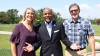 Outdoor Retailer's Marisa Nicholson and Darrell Denny with Denver Mayor Michael Hancock celebrate Outdoor Retailer's move to Denver in 2018 with a press conference held this afternoon in Denver's City Park Rose Garden. (Photo: Business Wire)