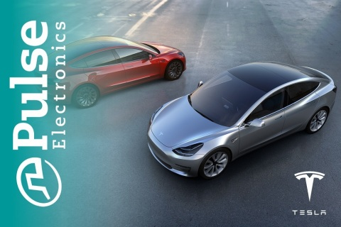 Supplier Partner, Pulse Electronics, Congratulates Tesla on Model 3 EV Launch (Graphic: Business Wir ...