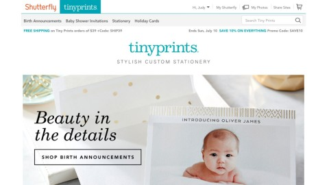 Tiny Prints, the leader in premium personalized stationery, is proud to share a new home with Shutterfly. At www.shutterfly.com/tinyprints, customers can enjoy the luxe stationery designs they have come to count on from Tiny Prints, plus seamless access to Shutterfly's free unlimited photo storage and their wide range of photo books, personalized gifts, home décor collections, all with the convenience of a single login. (Graphic: Business Wire)