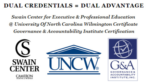 DUAL CREDENTIALS = DUAL ADVANTAGE Swain Center for Executive & Professional Education @ University Of North Carolina Wilmington Certificate Governance & Accountability Institute Certification (Graphic: Business Wire)