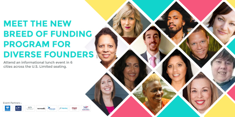 "The ""Meet the New Breed of Funding Programs for Diverse Founders"" roadshow events begin July 17 in New York City and continue in Boston, Los Angeles, Austin, San Francisco and Seattle. (Graphic: Business Wire)"