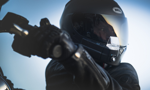 The NUVIZ HUD attaches to your helmet and features integrated navigation, camera, communication, and music in a single device. (Photo: Business Wire)