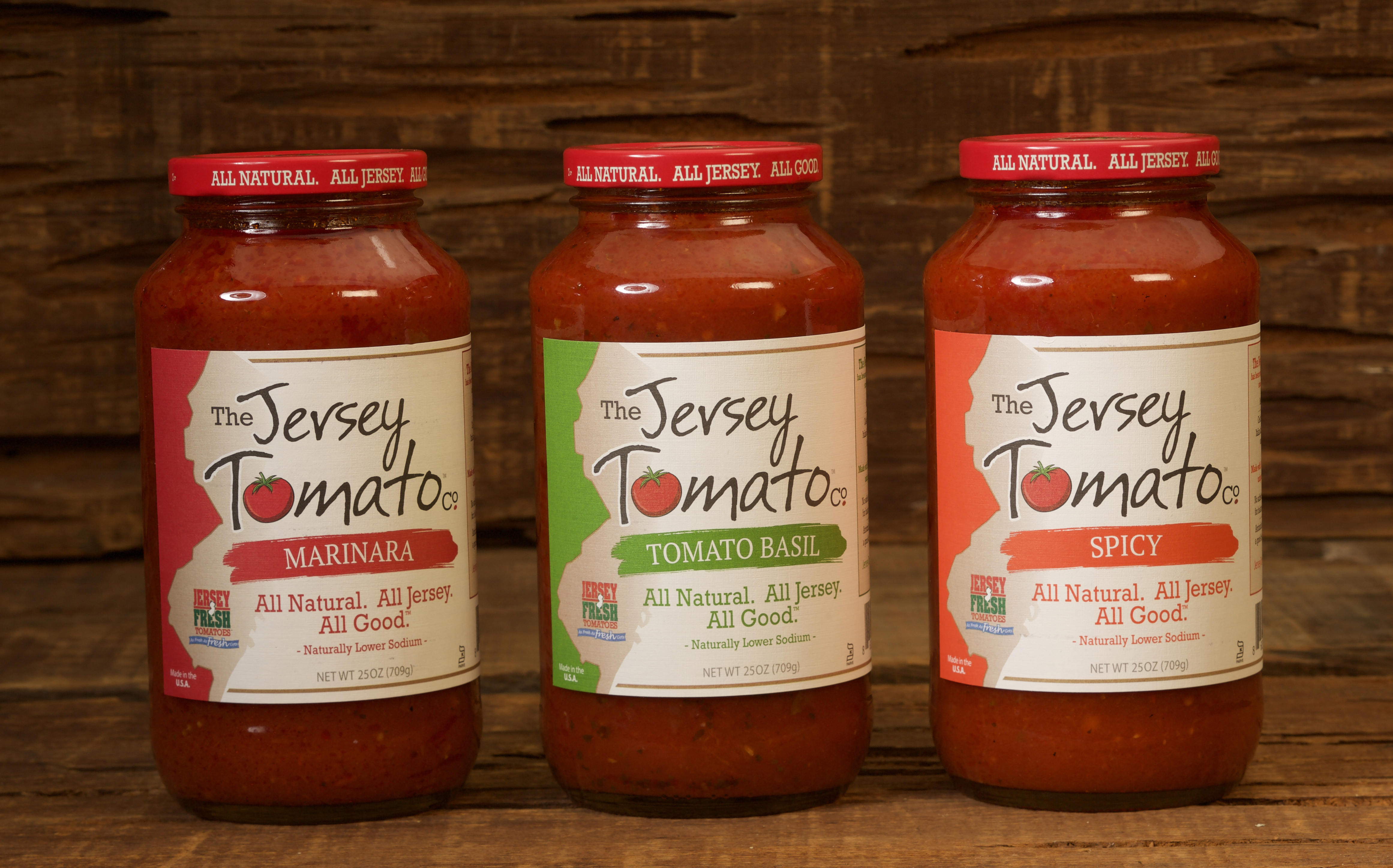 Three tomato sauces - Marinara, Tomato Basil & Spicy - from The Jersey Tomato Co. All Natural. All Jersey. All Good. (Photo: Business wire)