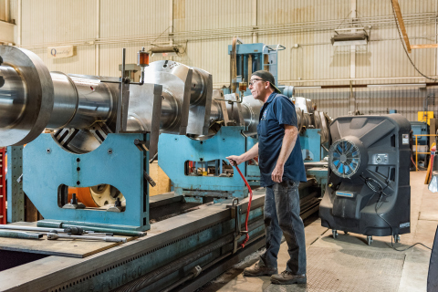 Greg Olson and the team at Washington Iron Works in Texas utilize Portacool portable evaporative coolers to keep the heavy machine shop cool, alleviating worker safety and productivity concerns in the heat. (Photo: Business Wire)