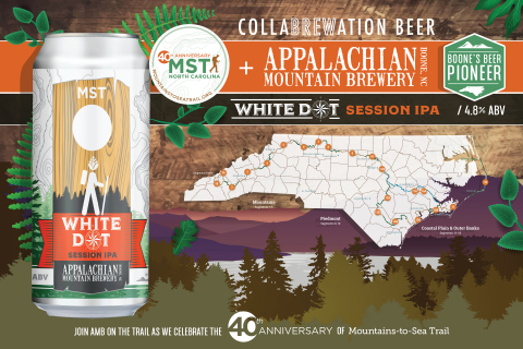 Appalachian Mountain Brewery Releases White Dot Session IPA to celebrate the 40th Anniversary of North Carolina's Mountains-to-Sea Trail. (Graphic: Business Wire)