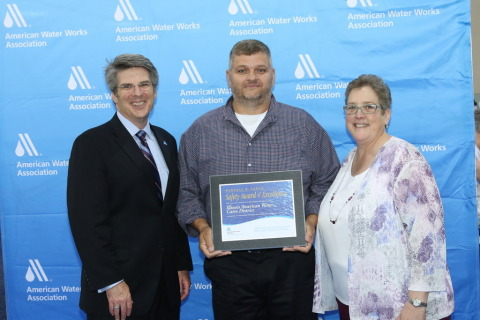 Illinois American Water Cairo District Operations Superintendent Mike Brown (center) accepts the AWWA Wendell R. LaDue Utility Safety Award. (Photo: Business Wire)