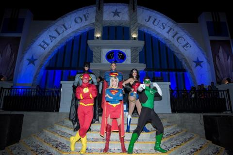 DC Super Heroes Batman, Superman, Wonder Woman, The Flash, Supergirl and Green Lantern stand on the steps of the Hall of Justice at the grand opening of Six Flags Magic Mountain's new JUSTICE LEAGUE: Battle for Metropolis interactive dark ride experience. (Photo: Business Wire)