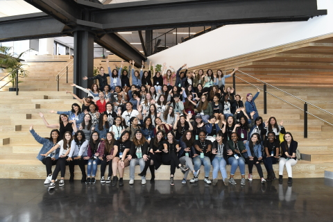 On Thursday, July 13, 2017, Dolby Laboratories hosted Girls Who Code, a national non-profit organization dedicated to closing the gender gap in technology. More than 60 young women learned how Dolby creates and delivers innovative audio and video experiences in the cinema, at home, and on the go. The field trip included tours of some of the more than 100 labs in the company's San Francisco headquarters and panel sessions to inspire the girls' pursuit of careers in science, technology, engineering, art, and math. (Photo: Genevieve Shiffrar)