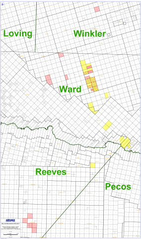 Map of Abraxas' updated acreage position. Yellow indicates Abraxas existing acreage position. Hashed ...