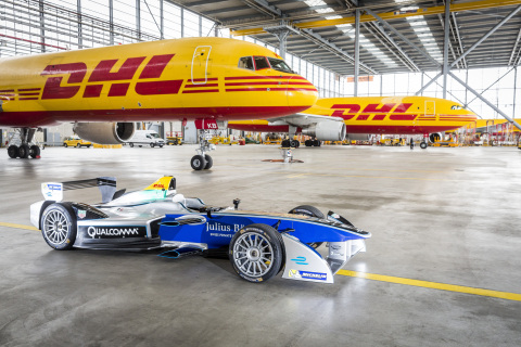 DHL delivers all-electric Formula E racing cars to New York City (Photo: Business Wire)