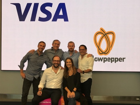 Top row from left to right: Daniel Andrade, Director of Product Solutions and New Payment Enablers, Visa LAC; Allen Cueli, Senior Director of Product Solutions and New Payment Enablers, Visa LAC; Alexander Sjögren, CTO, YellowPepper; Ruben Salazar, Senior Vice President of Product & Solutions, Visa LAC. Bottom row from left to right: Serge Elkiner, founder and CEO, YellowPepper; and Vanesa Meyer, Head of Innovation and Strategic Partnerships, Visa LAC. (Photo: Business Wire)