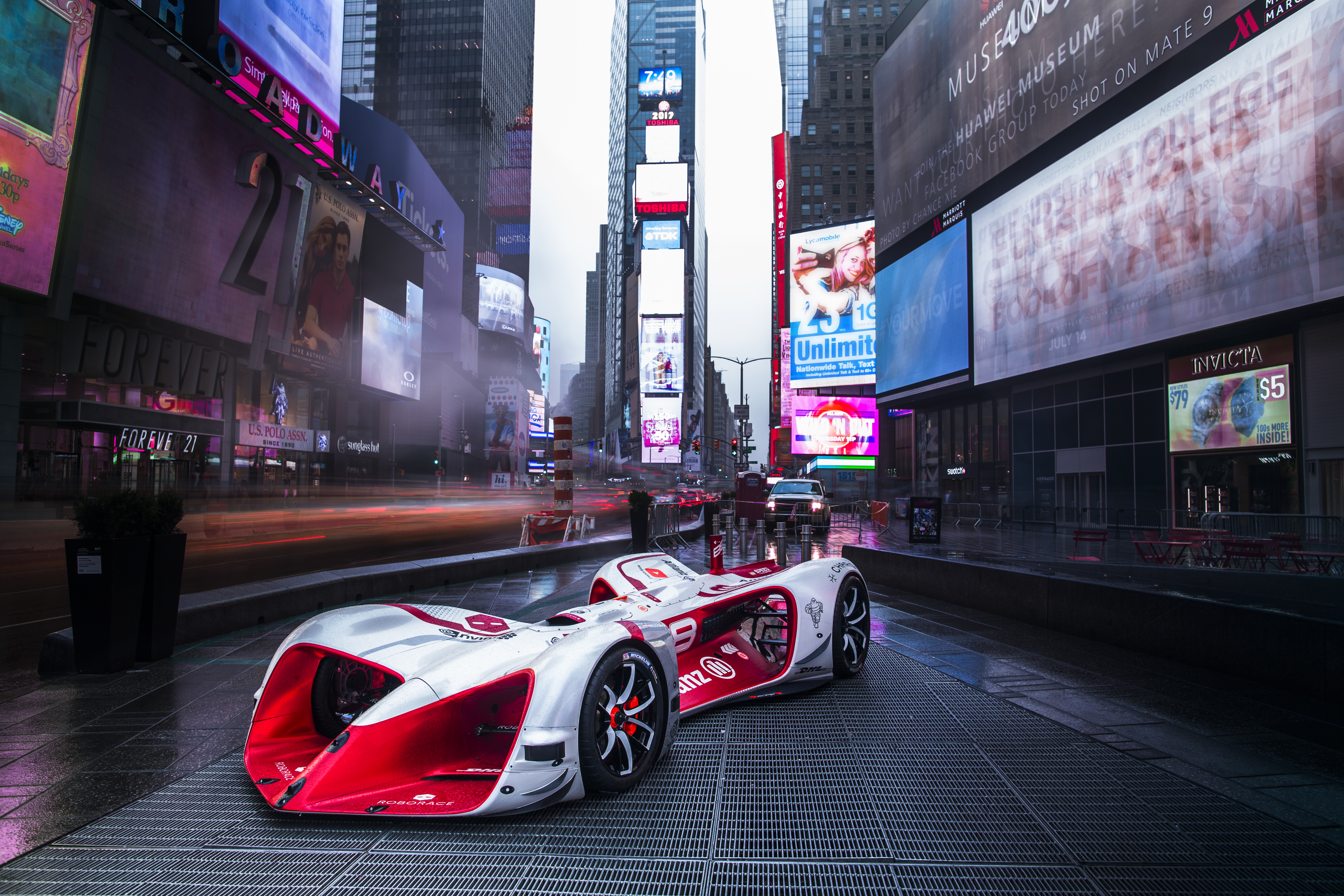 Roborace's Robocar makes its U.S. debut in Times Square in New York City. (Photo: Business Wire)