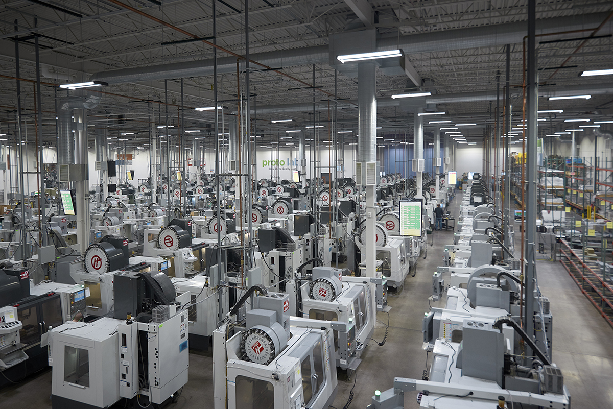 Proto Labs houses nearly 700 CNC mills and injection molding presses that enable on-demand manufacturing of molded parts within days. (Photo: Proto Labs)