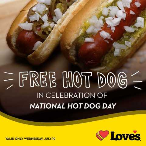 Love's Travel Stops is celebrating National Hot Dog Day Wednesday, July 19, 2017, by giving away free hot dogs. Customers can access a barcode for a free hot dog or roller grill item on Love's official Facebook, Twitter or Instagram pages from 12:01 a.m. to 11:59 p.m. Wednesday, July 19. (Photo: Business Wire)