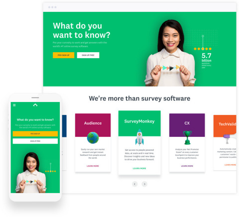 SurveyMonkey's New Homepage (Graphic: Business Wire)