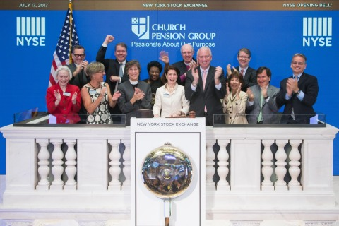 The Church Pension Group, a financial services organization that serves the Episcopal Church, today rang The Opening Bell® at the New York Stock Exchange in recognition of its centennial anniversary. (Photo Credit: NYSE)
