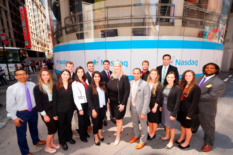Kate Healy, managing director, Generation Next for TD Ameritrade Institutional (center), and the 2017 TD Ameritrade Institutional NextGen RIA Scholarship & Grant winners (photo credit: Nasdaq)