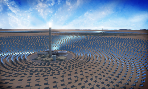 Rendering of SolarReserve's 390 MW Concentrating Solar Power (CSP) Likana Solar Project with 5.1 GW-hours of energy storage (Graphic: Business Wire)