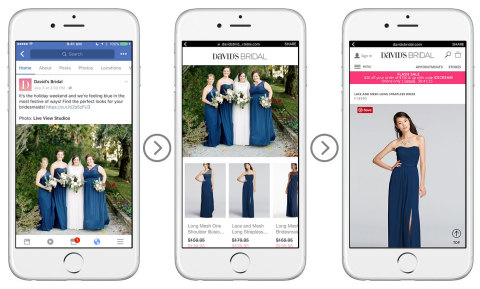 David's Bridal uses Curalate Showroom to transform Facebook post into storefront featuring recommended products (Photo: Business Wire)
