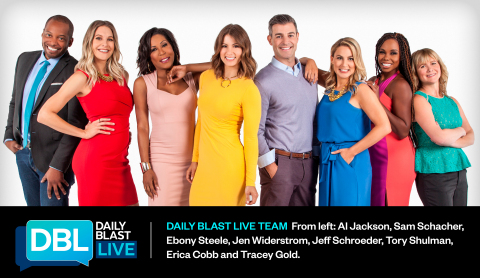 Daily Blast LIVE Team from left: Al Jackson, Sam Schacher, Ebony Steele, Jen Widerstrom, Jeff Schroeder, Tory Shulman, Erica Cobb and Tracey Gold (Photo: Business Wire)
