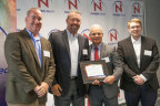 """Douglas Terrier, Acting Chief Technologist, NASA presents Peter Current, Steve Nelson, and Bret Omsberg with a certificate recognizing """"PacSci EMC as a top 10 finalist of NASA iTech's Cycle 2 on July 13, 2017."""" Photo Credit: NASA"""