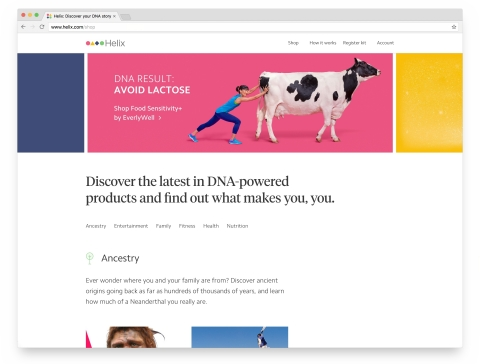 Helix is a personal genomics company that has created the first online marketplace for DNA-powered products that offer insights on nutrition, fitness, health, ancestry, family, and entertainment. (Photo: Helix)