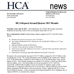 HCA Reports Second Quarter 2017 Results