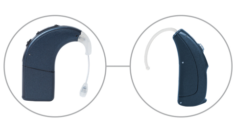 The Advanced Bionics Naida CI sound processor and the Phonak Naida™ Link CROS are the perfect hearing solution companions and provide a simpler way to hear more. (Graphic: Business Wire)