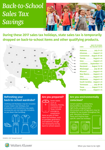 Back-to-school Sales Tax Savings for 2017 (Graphic: Business Wire)
