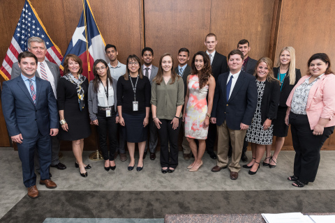 Port Commission Chairman Janiece Longoria, along with Port Houston Executive Director Roger Guenther and HR Generalist Alia O'Neill (far right) pose with Port Houston's summer interns. (Photo: Business Wire)