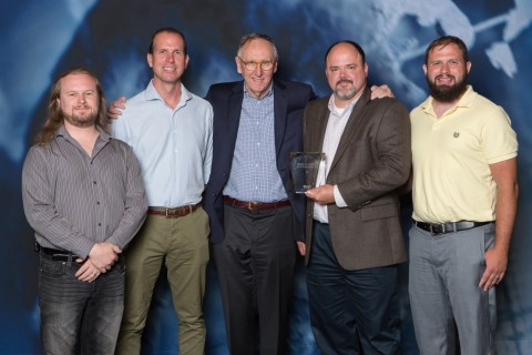 From left to right: Justin Piwetz, Tim Hunter Rowe, Jack Dangermond, Brian Boulmay & Garrett Rimel (Photo: Business Wire)