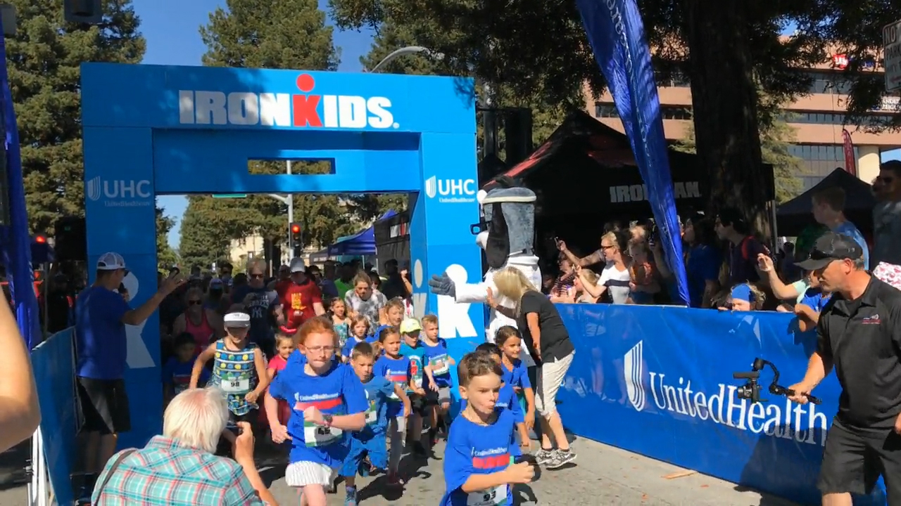 More than 200 kids participated in the inaugural UnitedHealthcare IRONKIDS Santa Rosa Fun Run today at Old Courthouse Square. UnitedHealthcare mascot Dr. Health E. Hound helped kick off the fun run. This is the sixth year UnitedHealthcare is sponsoring IRONKIDS races in the United States. (Video credit: Anita Sen)