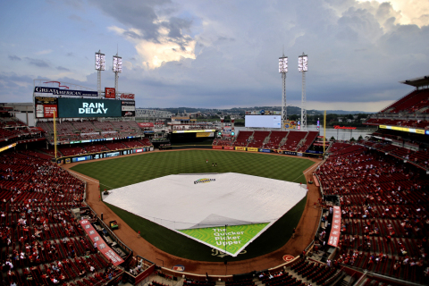 New Bounty infield rain tarp at Great American Ball Park helps Cincinnati Reds quickly tackle biggest spills of the season - rain showers. (Photo: Business Wire)