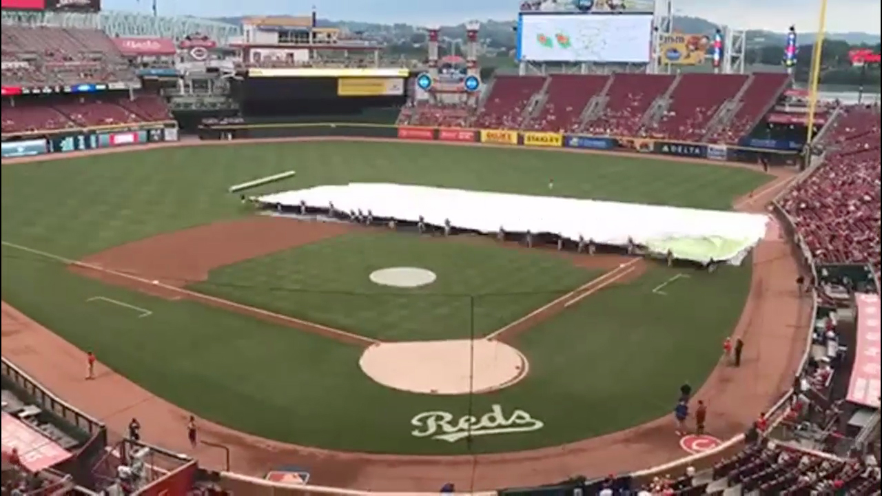 Time-lapse rollout of new Bounty infield rain tarp at Great American Ball Park.