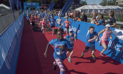 Nearly 120 kids participated in the UnitedHealthcare IRONKIDS Ohio Fun Run today at Selby Stadium in Delaware, Ohio. This is the sixth year UnitedHealthcare is sponsoring IRONKIDS races in the United States. (Credit: Neal Lauron)