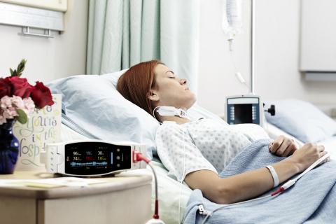 Masimo Radical-7® Pulse CO-Oximeter® with RAS-125c Respiratory Acoustic Sensor (Photo: Business Wire)