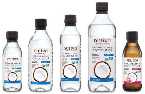 Nutiva®, pioneer of plant-based organic foods that nurture vitality, today launched two new Organic Liquid Coconut Oils, in Classic and Garlic. (Photo: Business Wire)