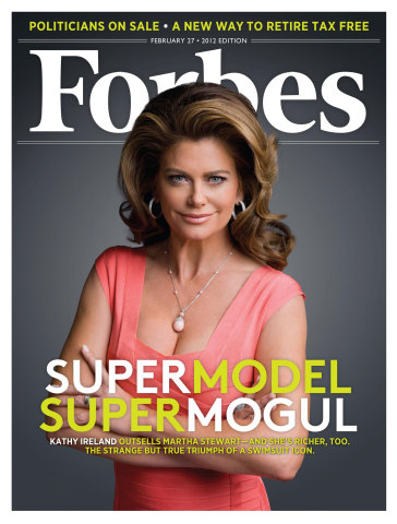 Kathy Ireland's first of multiple global Forbes covers. (Photo: Business Wire)