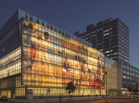 Dip-Tech, A Ferro Company, has worked with leading architects and glass processors around the world to enable dramatic designs for architectural glass, such as that at Harlem Hospital in New York City. (Photo: Business Wire)