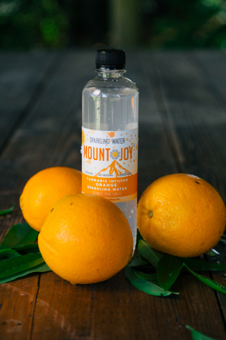 Mountjoy cannabis-infused sparkling water in orange with the finest, full-spectrum cannabis oils containing 12mg of hybrid THC and water sourced from a pristine aquifer on a Sonoma County ranch. (Photo: Mountjoy)
