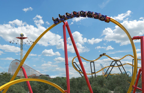 At 113 feet in height, Wonder Woman™ Golden Lasso Coaster will send you soaring high above our limestone quarry wall and offer breathtaking views of all the amazing rides and attractions at Six Flags Fiesta Texas. (Photo: Business Wire)