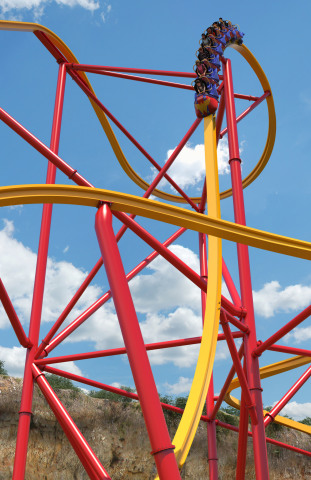 Wonder Woman™ Golden Lasso Coaster will feature a 90-degree drop sending passengers on the ride experience of a lifetime. It will be the steepest roller coaster drop in the history of Six Flags Fiesta Texas. (Photo: Business Wire)