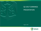 OMAM Reports Financial and Operating Results for the Second Quarter Ended June30, 2017
