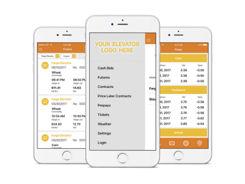 Mobile app screenshots powered by the Bushel platform display the elevator's brand to growers (Photo: Business Wire)
