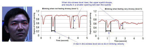 Photo1: Detecting drowsiness by observing the blinking features: The system extracts an outline of the eyes and monitors time-sequence shifts in blinking features by checking the opening between the eyelids. (Graphic: Business Wire)