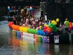 For the first time in its history, AHF Europe took part in Amsterdam's Canal Gay Pride on Saturday, August 5th with a colorful float promoting AHF's 2017 worldwide pride theme, 'One Community, One Love.' (Photo: Business Wire)