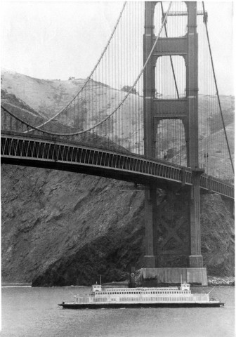 On May 21, 1973, the Berkeley left San Francisco Bay for the last time, and was towed beneath the Golden Gate Bridge on her way to her new home at the Maritime Museum of San Diego. (Photo: Maritime Museum of San Diego)
