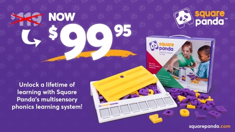 Square Panda drops the price of its learning system from $119 to $99.95, just in time for the back-to-school season, offering parents a quality and research-based early literacy tool for their child (Graphic: Business Wire)